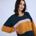 Pull ample en mohair - Sakine 6707 crique/buvard/cannelle - 86 Multicolore