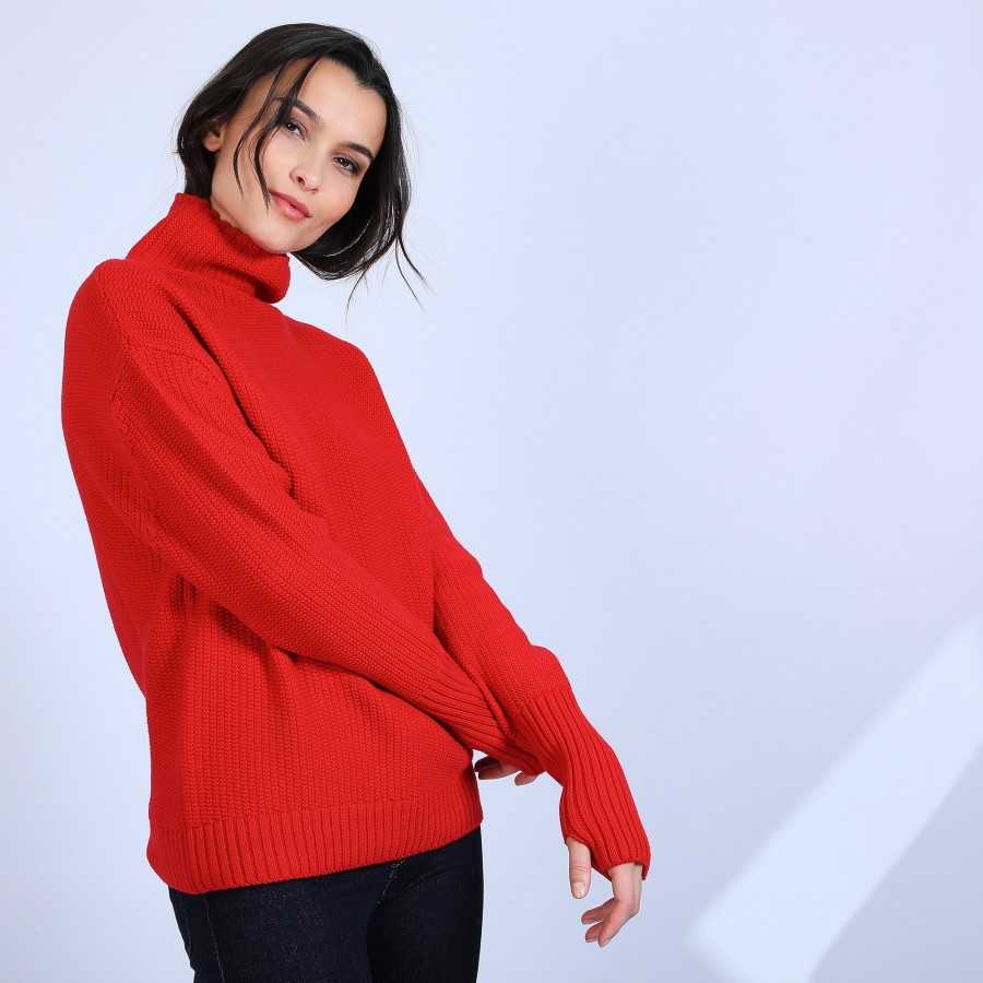 Pull manches extra longues Solange 6681 rouge - 52 Rouge