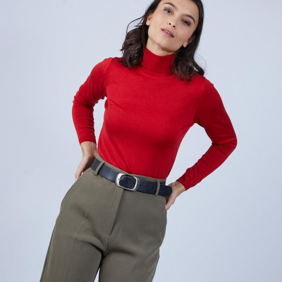 Pull col roulé en laine et soie - Bettie 6681 rouge - 52 rouge