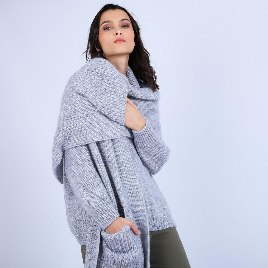 Longue écharpe avec poches - Sury 6612 gris clair - 11 Gris clair