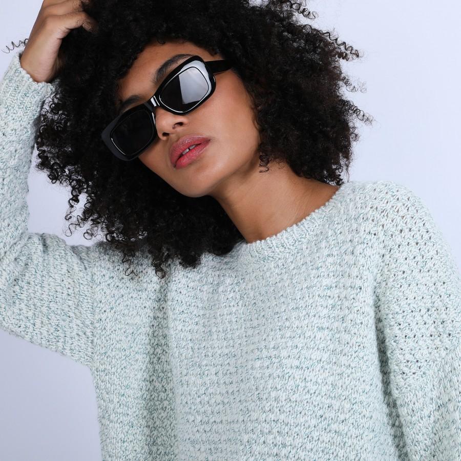 Pull ample en laine chinée - Sunny 6642 emeraude - 23 Vert CLAIR