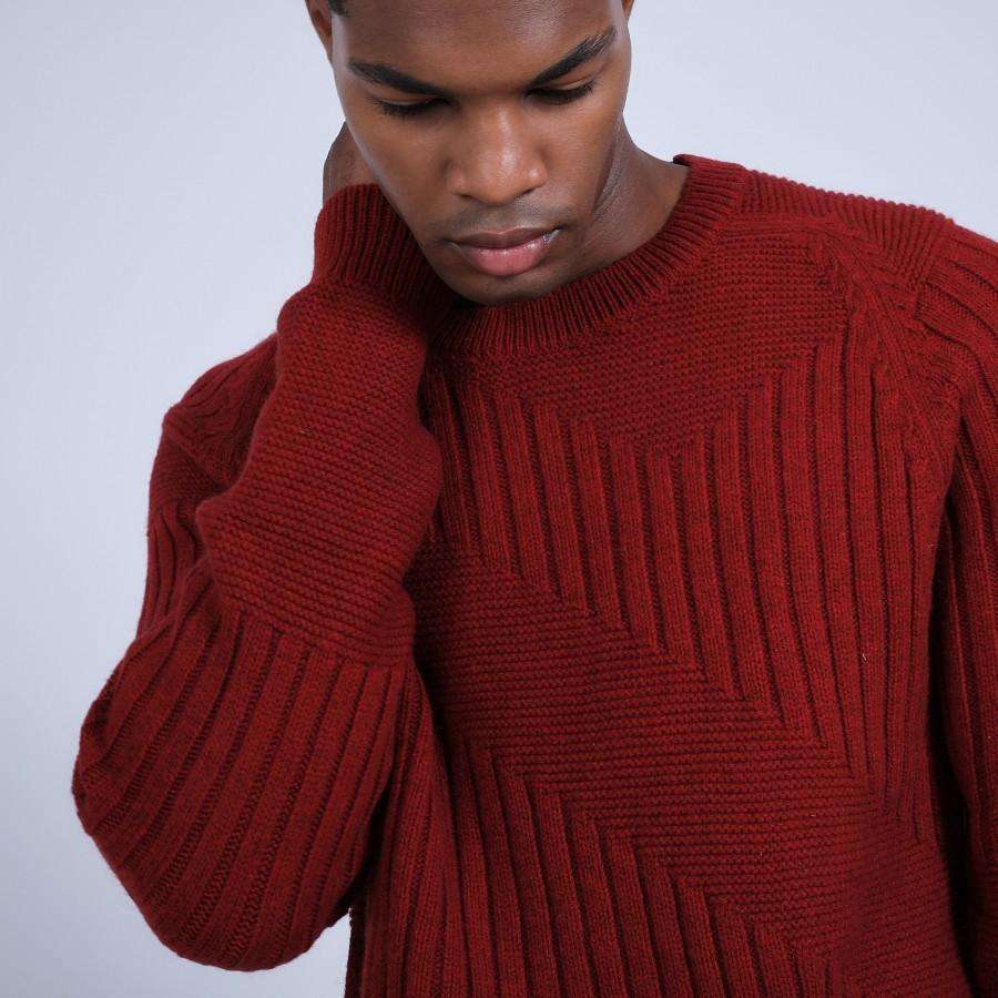Pull fantaisie en laine et yak - Rasta 6681 rouge - 20 Rouge foncé
