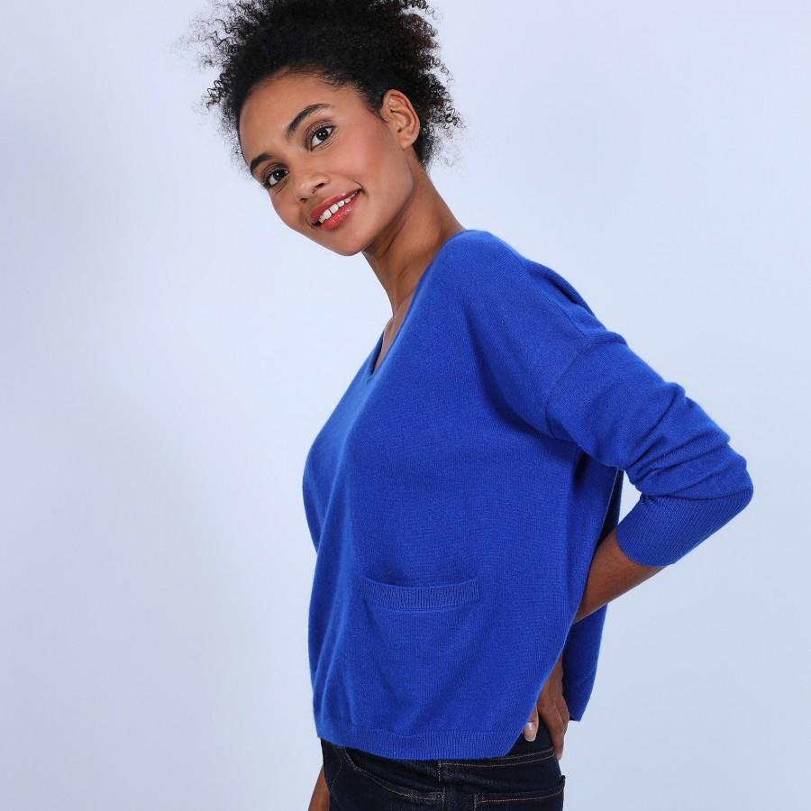 Pull ample avec poche - Balba 6645 bleu dur - 48 Bleu roi