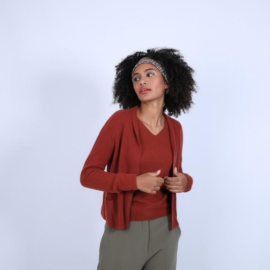 Gilet avec poches en cachemire - Basma 6682 tomette - 46 Marron clair