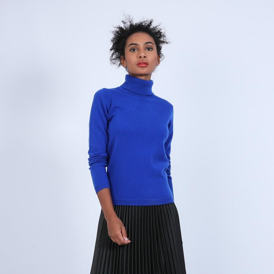 Pull col roulé en cachemire - Bauhaus 6645 bleu dur - 48 Bleu roi