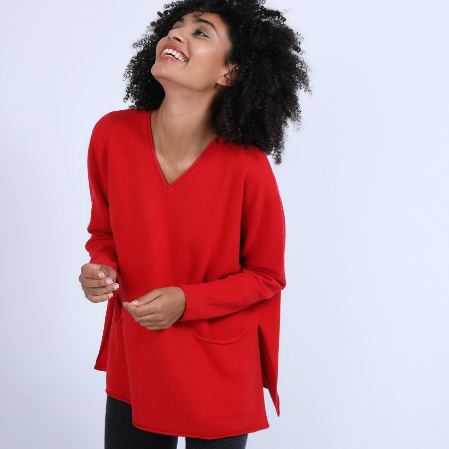 Pull en cachemire ample col V - Olyvia 6680 ecarlate - 52 Rouge