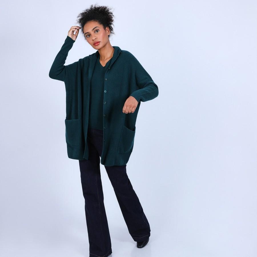 Veste en cachemire avec poches - Baya 6642 emeraude - 21 Vert foncé