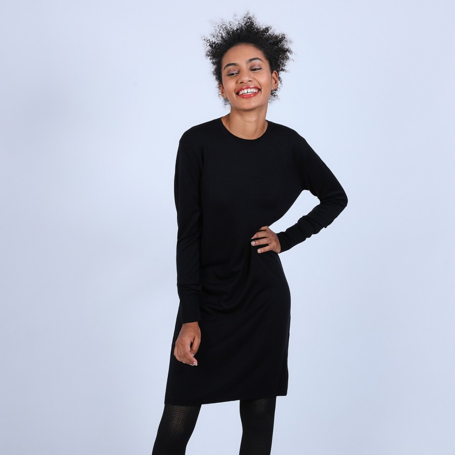 Robe col rond en laine mérinos - Blanche 6610 noir - 01 Noir