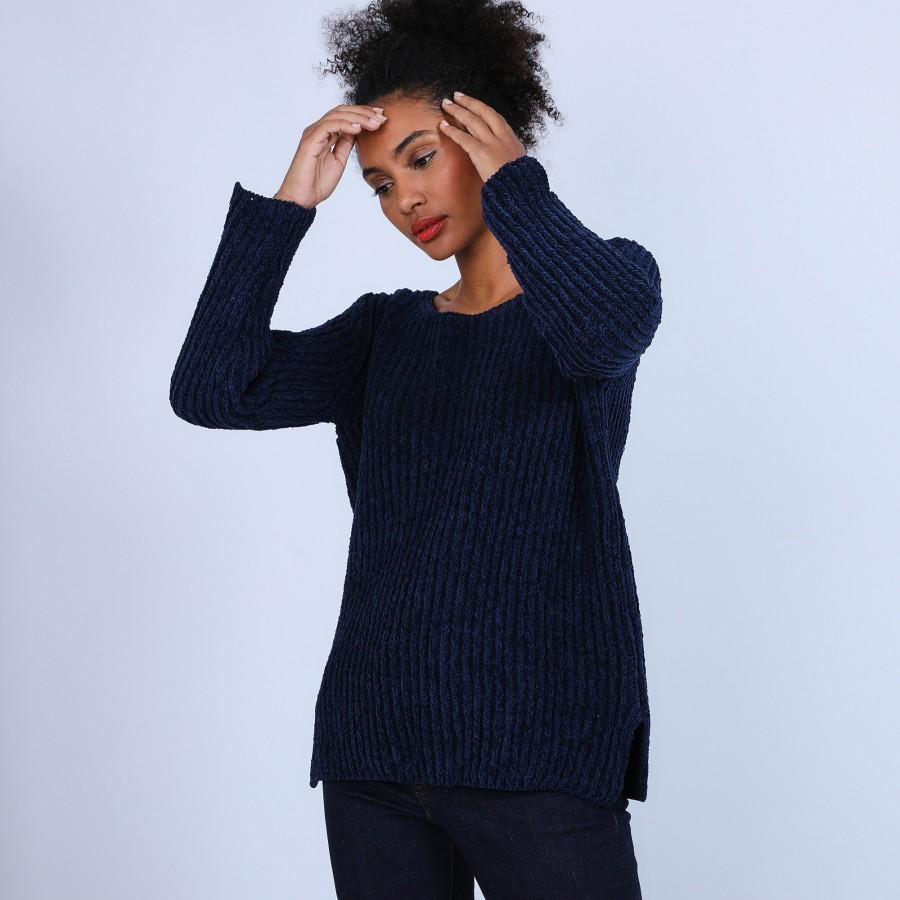 Pull avec fentes en soie et laine velours - Bonno 6640 marine - 05 Bleu marine