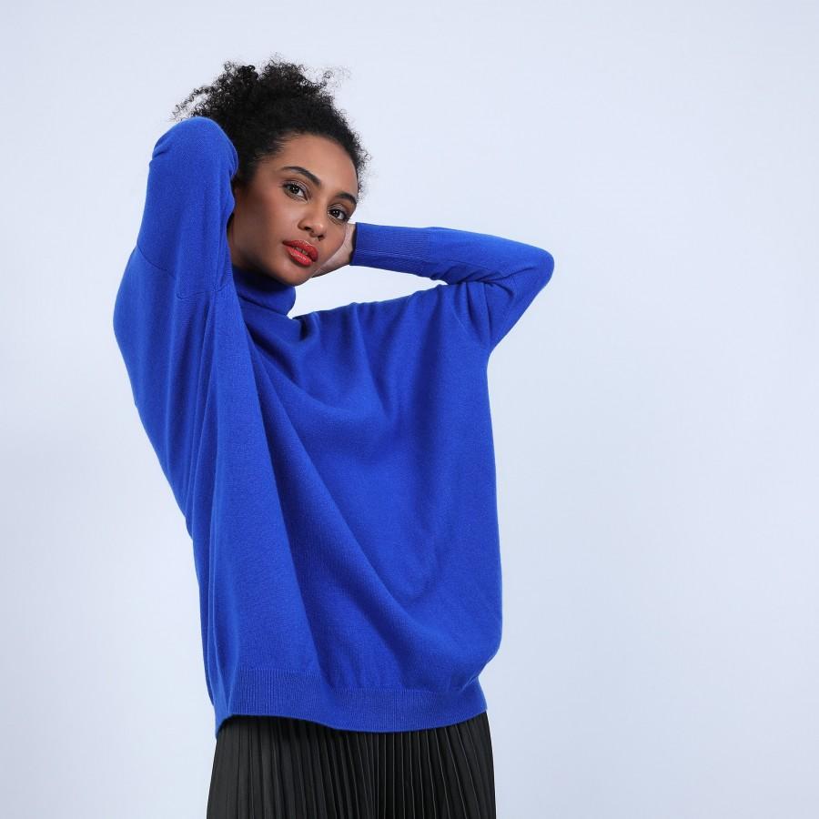 Pull large en cachemire col roulé - Bouda 6645 bleu dur - 48 Bleu roi