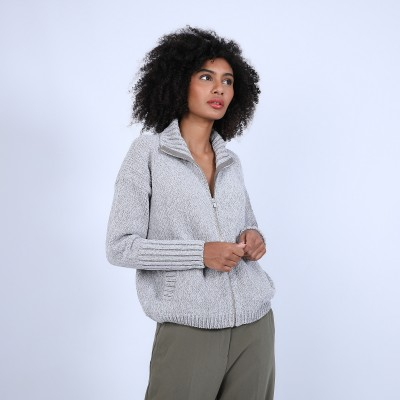 High-neck cardigan in wool and silk velour - Brésil