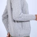 Gilet col montant en soie et laine velours - Bresil 6620 greige - 11 Gris clair
