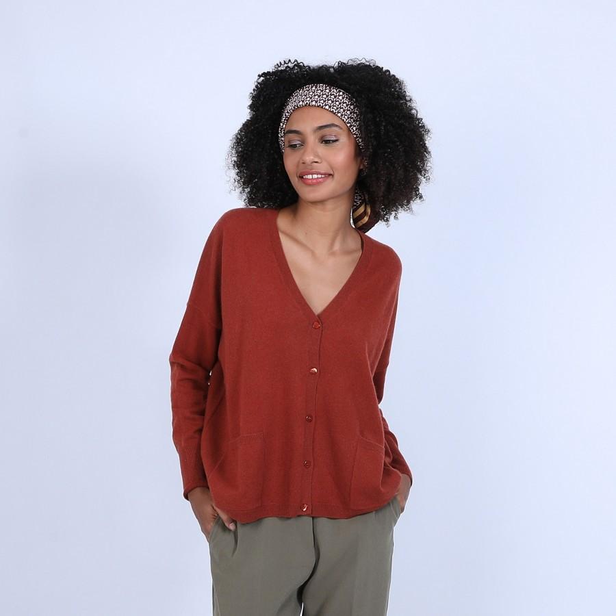 Gilet en cachemire - Brune 6682 tomette - 46 Marron clair