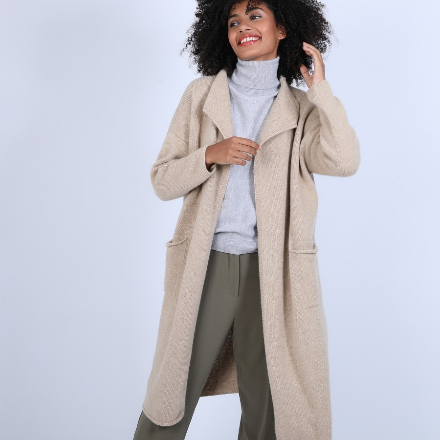 Manteau avec poches en laine & alpaga - Sydney 6620 greige - 13 Beige moyen