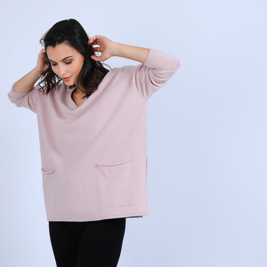 Pull en cachemire ample col V - Olyvia 6602 colombe - 24 Rose clair