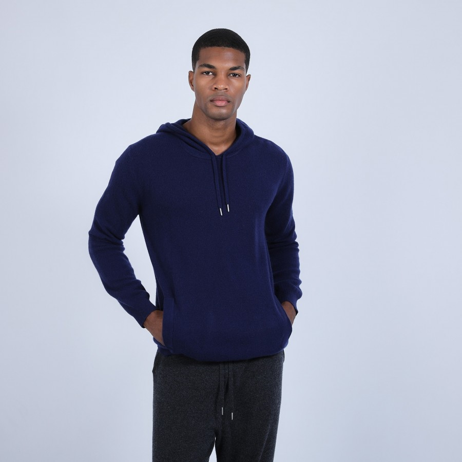 Sweat à capuche en cachemire - Harper 6646 indigo - 75 bleu nuit