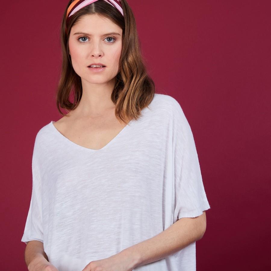 T-shirt long en lin flammé - Bil 6800 blanc - 02 Blanc