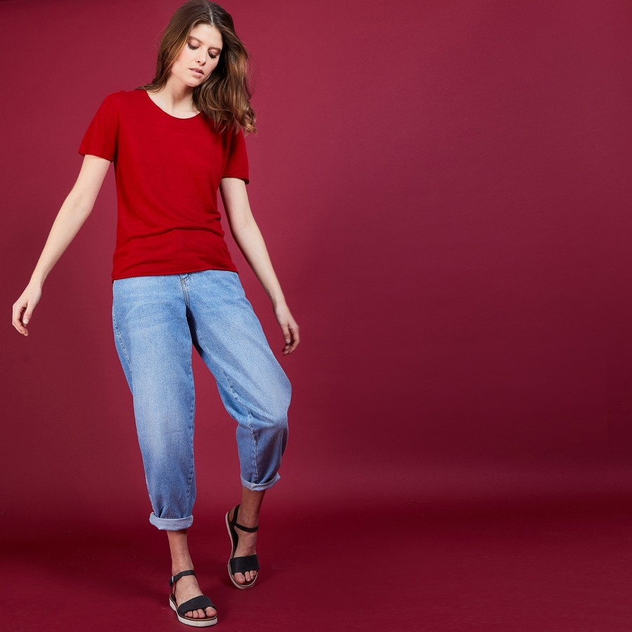 T-shirt col rond en lin flammé - Bang 6880 pavot - 52 Rouge