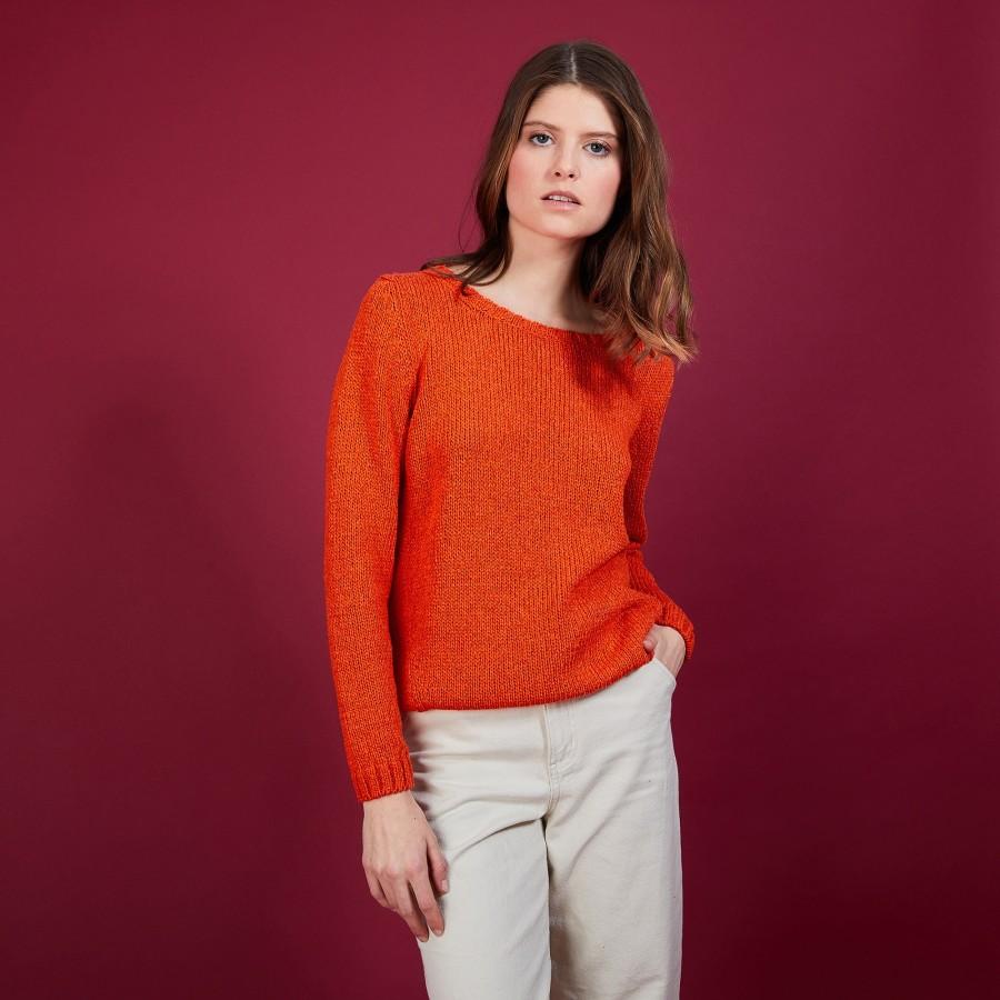 Pull col rond en soie coton et laine - Benji 6883 flamine - 15 Orange