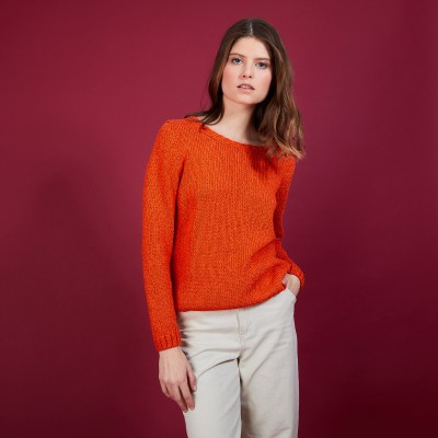 Women's round-neck pullover silk cotton and wool - Benji