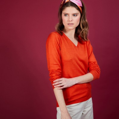 Wool V-neck sweater - Baobab