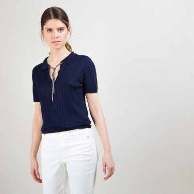 Natural silk polo neck sweater - Alya