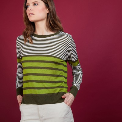 Natural silk round neck sweater - Amélia