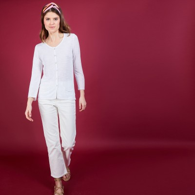 Flamed linen cardigan - Bao