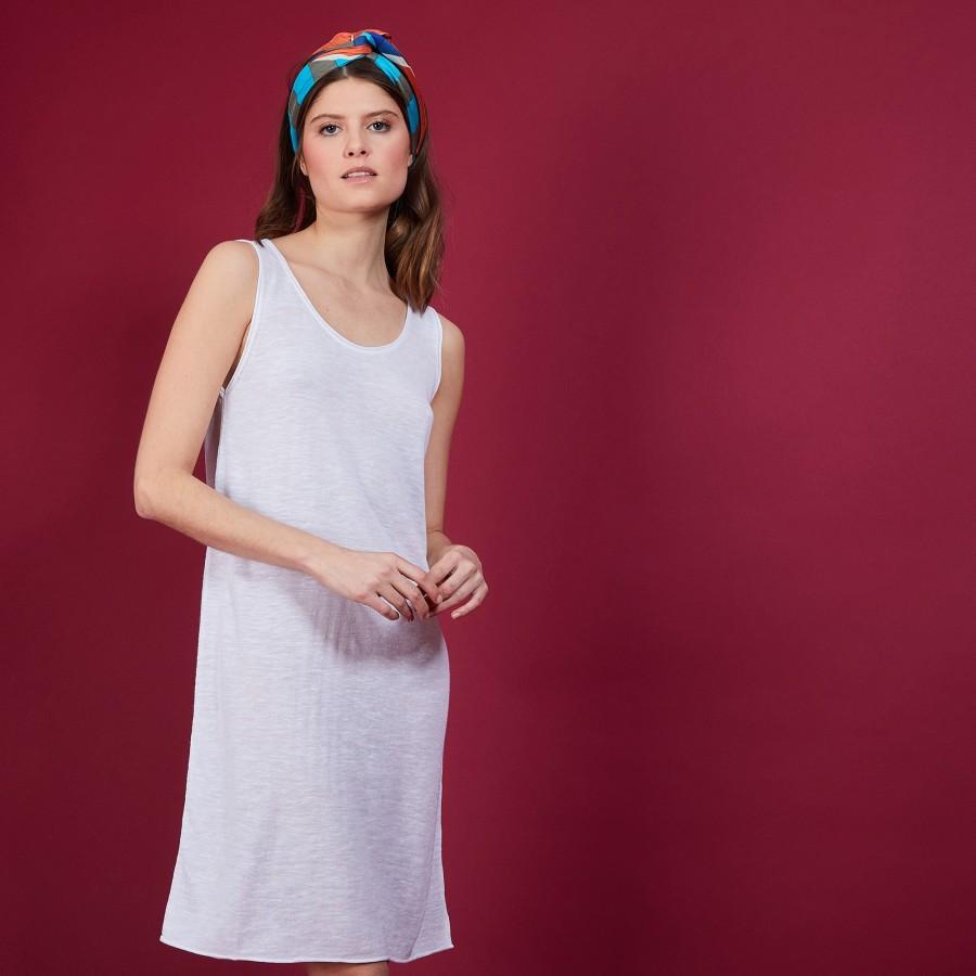 Robe longue en lin flammé - Bardot 6800 blanc - 02 Blanc