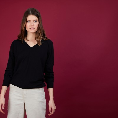 BLONDIE - V-neck jumper in cashmere and linen