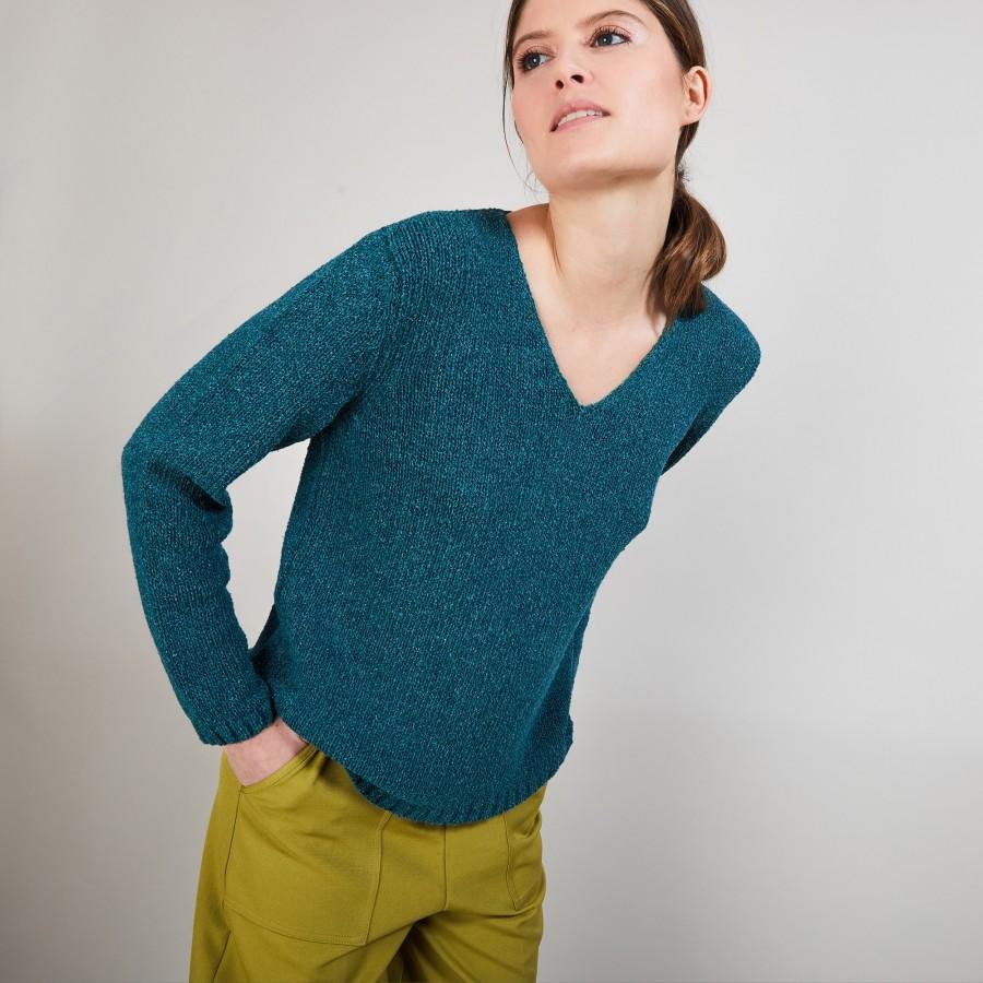 Pull col V en soie coton et laine - Blovis 6850 meleze - 21 Vert foncé