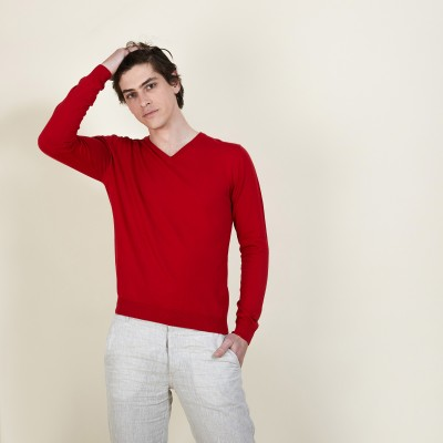 V-neck sweater in natural cotton - Bouda