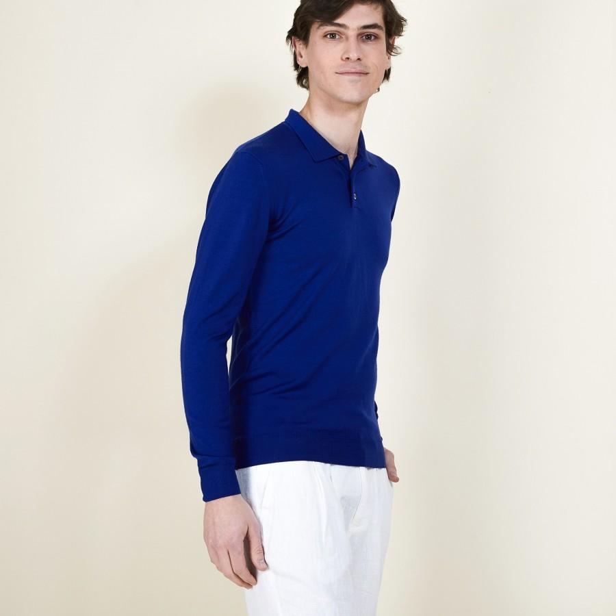 Pull col polo en 100% laine mérinos - Beni 6841 altitude - 48 Bleu roi