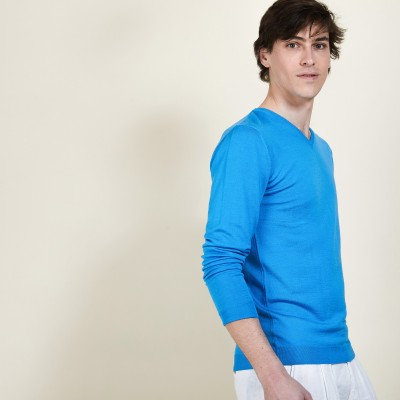 Wool and silk V-neck sweater - Basil