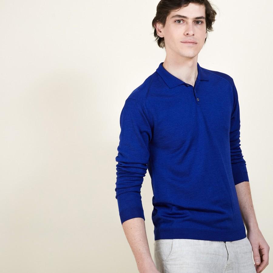 Pull col polo en laine et soie - Bartev 6841 ALTITUDE - 06 Bleu foncé