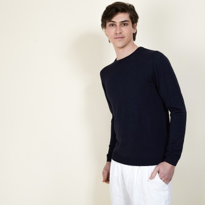 BARSAM Men's round-neck pullover in wool and silk