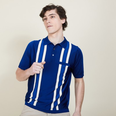 Striped polo shirt in Fil Lumiere - Brice
