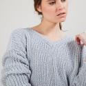 Pull col V en soie laine coton - Bulle 6811 gris clair - 11 Gris clair
