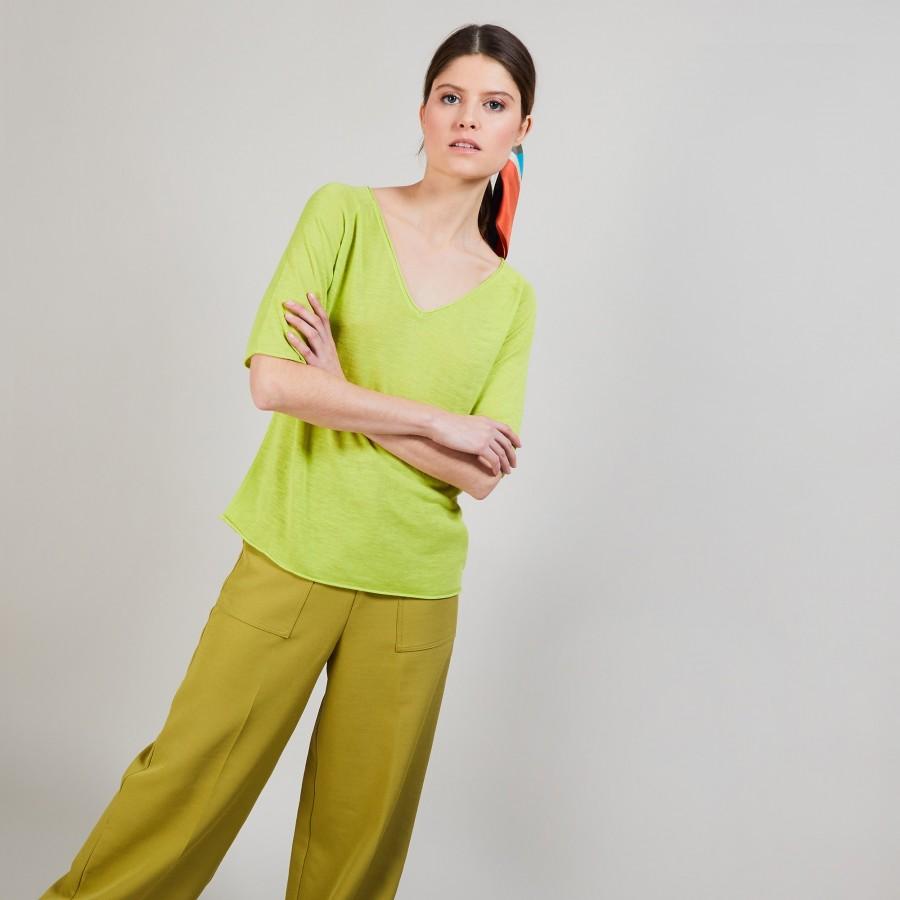 T-shirt en lin manches coudes - Bonbon 6852 pollen - 90 Vert anis