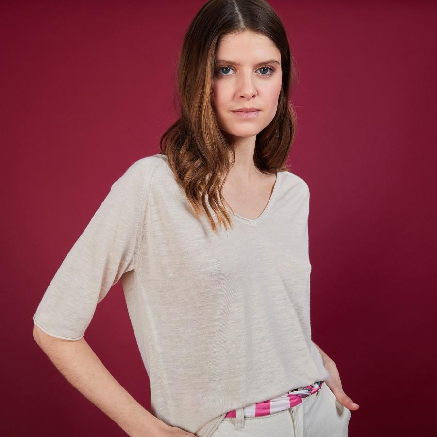 T-shirt en lin manches coudes - Bonbon 6801 beige - 12 Beige clair