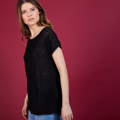 Long flamed linen T-shirt - Coline
