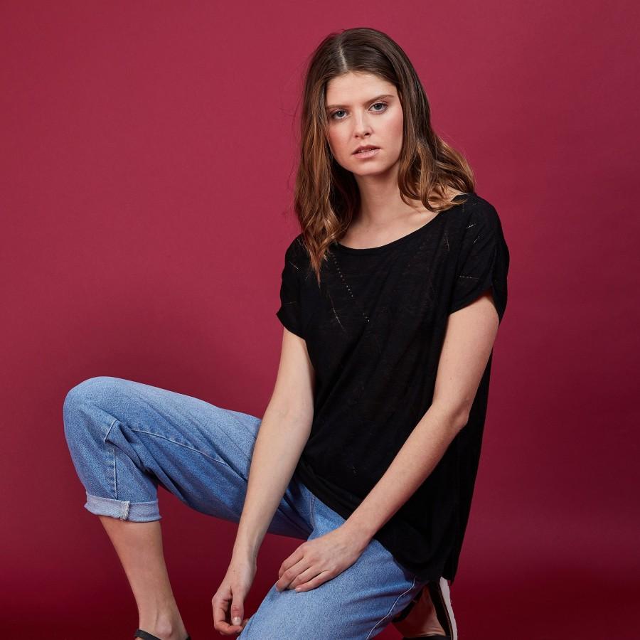 Long T-shirt en lin flammé - Coline 6810 noir - 01 Noir