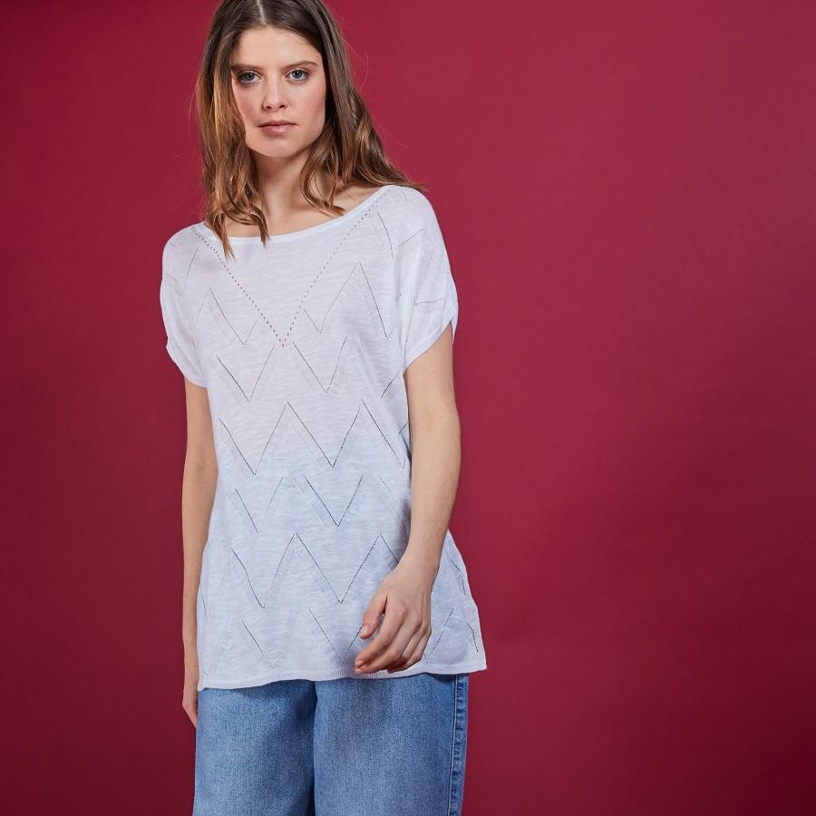 Long T-shirt en lin flammé - Coline 6800 blanc - 02 Blanc