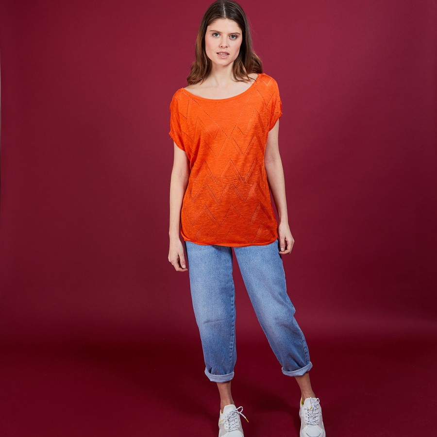 Long T-shirt en lin flammé - Coline 6883 flamine - 15 Orange