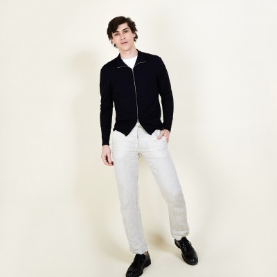 Men's zip-up 100% merino wool cardigan - Bastian