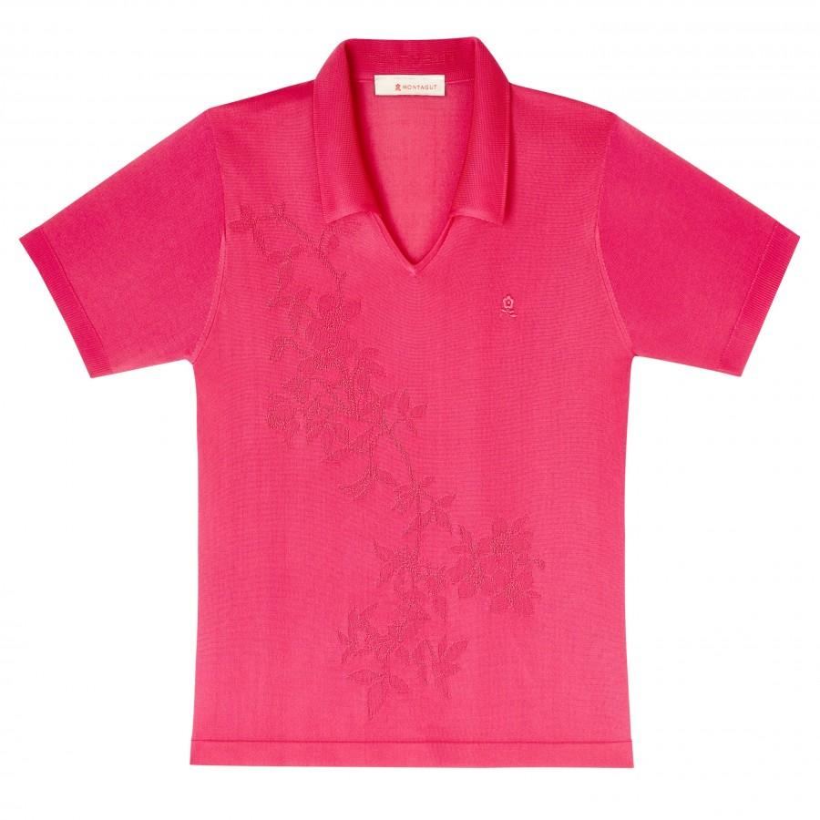 T-shirt manches courtes motif fleurs Donna rouge