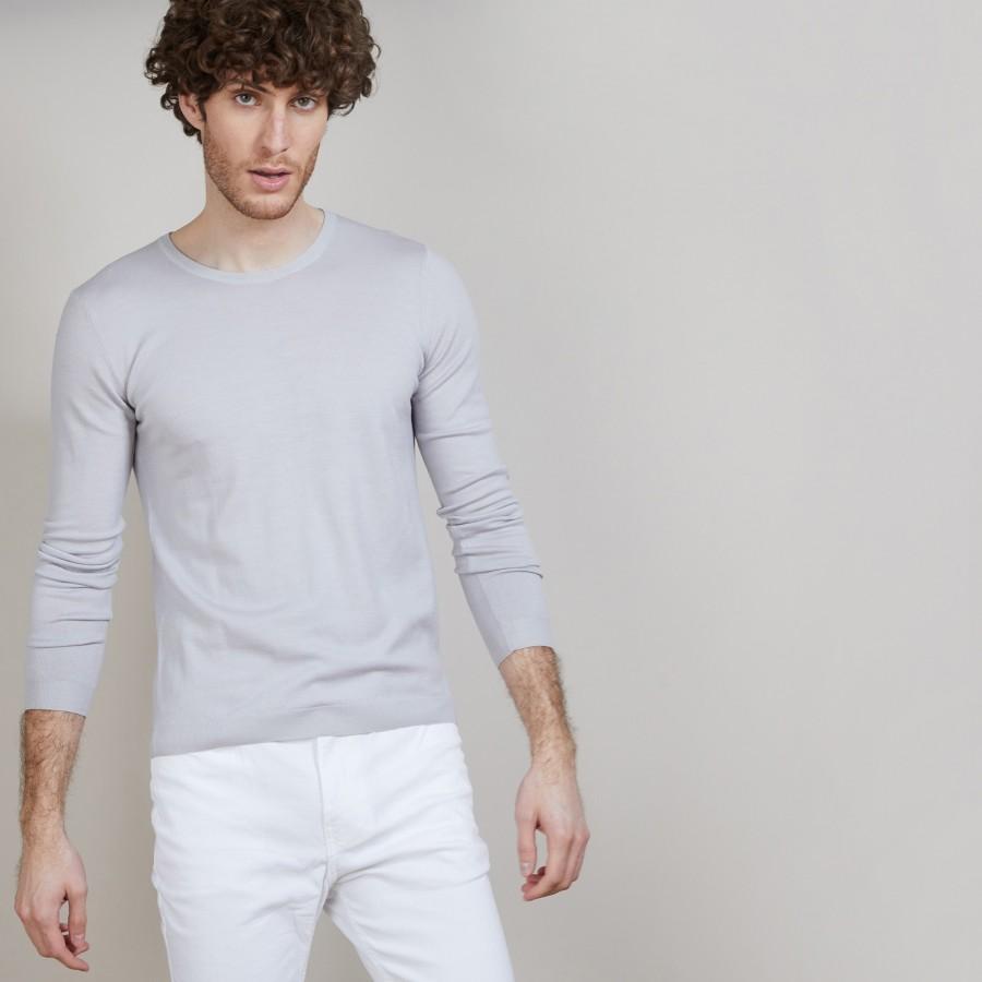 Pull col rond en 100% laine mérinos - Bardem 6811 gris clair - 11 Gris clair