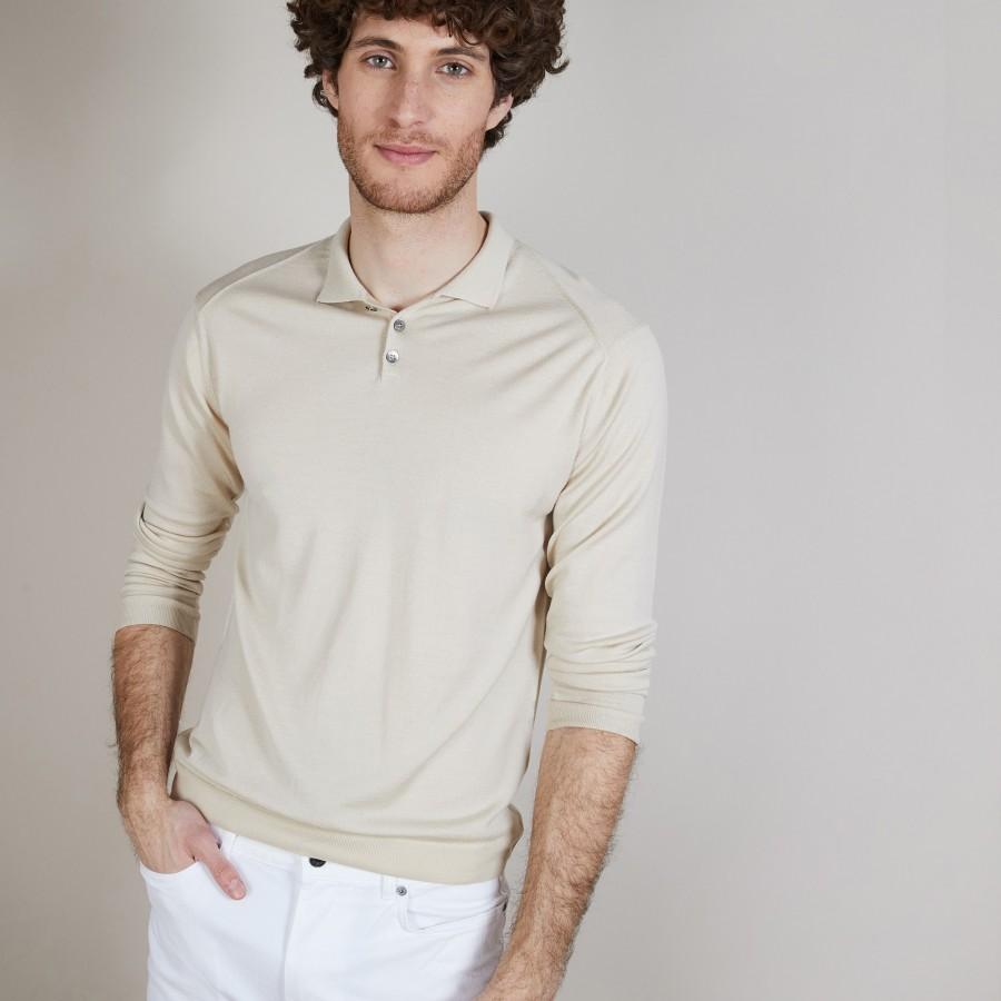 Pull col polo en laine et soie - Bartev 6801 beige - 12 Beige clair