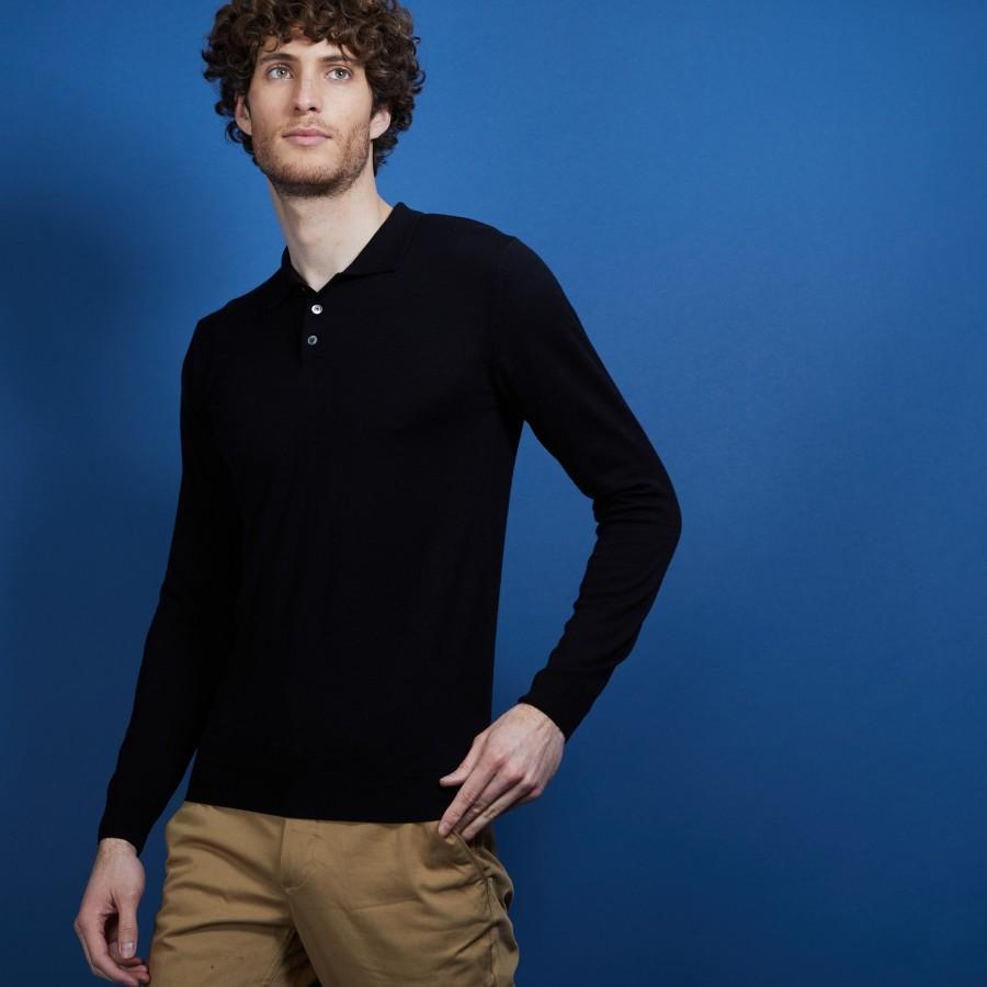 Pull col polo en 100% laine mérinos - Beni 6810 noir - 01 Noir