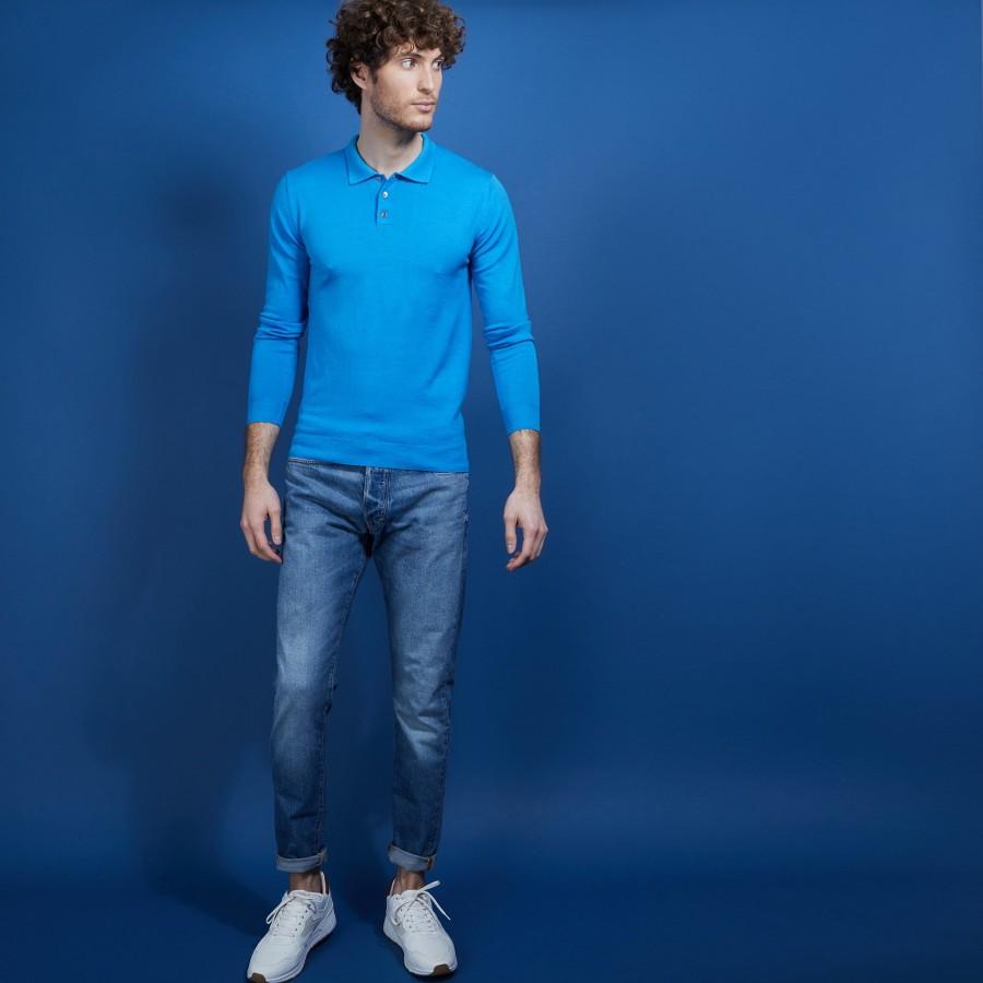 Pull col polo en 100% laine mérinos - Beni 6843 azur - 06 Bleu moyen